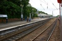 Looking along the down platform of Durham station from a passing southbound train on 30 August 2010.<br><br>[John McIntyre&nbsp;30/08/2010]