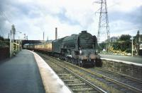 A southbound train on the ECML accelerates through Joppa station on 24 August 1957 behind A1 Pacific no 60147 <I>North Eastern</I>.<br><br>[A Snapper (Courtesy Bruce McCartney)&nbsp;24/08/1957]