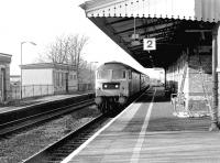 A Brush Type 4 speeds through West Drayton in 1980 with a Bristol - Paddington express.<br><br>[John Furnevel&nbsp;18/11/1980]