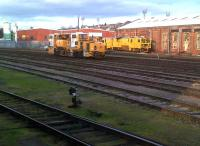 This rather generous yard is still in place behind platform 2 at Worcester Shrub Hill station in December 2011. Don't worry, it's fully utilized: as well as these PW machines, there was a wagon stabled out of view.<br><br>[Ken Strachan&nbsp;31/12/2011]