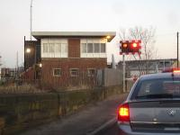 Low Gates signalbox, Northallerton. Looking towards the town centre in January 2012. <br><br>[David Pesterfield&nbsp;14/01/2012]