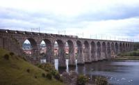 A southbound Class 60-hauled coal train on the Royal Border Bridge at Berwick in 1996.<br><br>[David Spaven&nbsp;//1996]