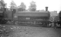 Ex-GWR 0-6-0PT 3749 stands in the yard at Tyslely shed in September 1958.<br><br>[Robin Barbour Collection (Courtesy Bruce McCartney)&nbsp;28/09/1958]