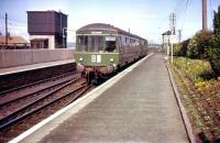 A North Berwick - Corstorphine DMU photographed at Drem on 30 June 1958.<br><br>[A Snapper (Courtesy Bruce McCartney)&nbsp;30/06/1958]