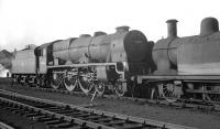 Royal Scot 46132 <I>'The King's Regiment Liverpool'</I> photographed on its home shed at Kingmoor in May 1964. The locomotive is recorded as being officially withdrawn three months earlier and was eventually cut up at Arnott Young, Troon, the following April. <br><br>[K A Gray&nbsp;15/05/1964]