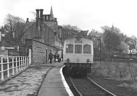 There were only five weeks to go before closure when this class 101 3-car set, comprising vehicles E50146, E59530 and E51437, was photographed at Alston on Saturday 27th March 1976 ready to form the mid-day train to Haltwhistle. <br><br>[Bill Jamieson&nbsp;27/03/1976]