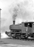 NCB Scottish North Area No 29 (Andrew Barclay 1142 of 1908) lays a smoke screen while shunting at Frances Colliery, Dysart, in 1974. After a spell on display at Danderhall Miners Welfare it is now at Prestongrange Mining Museum.<br><br>[Bill Roberton&nbsp;//1974]