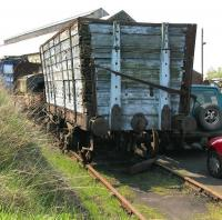 Old wooden high capacity coal wagon in the sidings at Marley Hill in May 2006.<br><br>[John Furnevel&nbsp;09/05/2006]