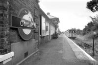 The former Great Eastern Railway terminus at Ongar on 23 July 1993 with a London Underground Central Line train at the platform. The station officially closed on 30 September the following year but is now the headquarters of a preservation group. The objectives of the group, <I>'The Epping Ongar Railway Ltd'</I>  include the reinstatement of scheduled passenger services between the two locations.<br><br>[Bill Roberton&nbsp;23/07/1993]
