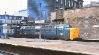Deltic 55014 <I>The Duke of Wellington's Regiment</I> about to restart a train from Edinburgh Haymarket on 22 April 1981 for the short hop to Waverley.<br><br>[Peter Todd&nbsp;22/04/1981]