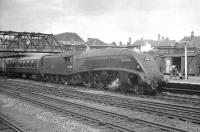 A4 Pacific no 60015 <I>Quicksilver</I> stands at Doncaster with an up ECML service in July 1961.<br><br>[K A Gray&nbsp;29/07/1961]
