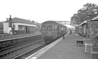Last day of passenger services at Rosewell on 8 September 1962 with a DMU for Waverley at the platform. The destination blind reads 'Edinburgh - Inner Circle'. [See image 37367]<br><br>[R Sillitto/A Renfrew Collection (Courtesy Bruce McCartney)&nbsp;08/09/1962]
