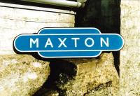 A refurbished totem rescued from Maxton station on the former Kelso branch, closed to passengers in June 1964 [see image 34181]. <br><br>[Bruce McCartney&nbsp;//1972]