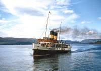 The former Caledonian Steam Packet Company paddle steamer <I>'Jupiter'</I>, approaching Wemyss Bay in August 1957.<br><br>[A Snapper (Courtesy Bruce McCartney)&nbsp;16/08/1957]