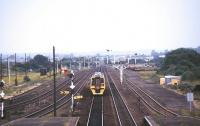 View from the footbridge at Barnetby station in August 1995 looking south west towards Wrawby Junction.<br><br>[Ian Dinmore /08/1995]