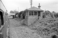 Old signal box at Woodside and Burrelton seen from the Strathspey Railway Association's 'Strathmore Express' on 25 May 1974. <br><br>[Bill Roberton&nbsp;25/05/1974]