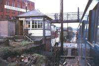 Chaffer's Siding cabin looking south west towards Nelson station at Barkerhouse Road level crossing in 1974. The box, the bridge and the building have all since been demolished, with the barriers here now activated by the train driver [see image 17268]. [With thanks to Messrs McIntyre, Leiper, Renwick and Wallace] <br><br>[Ian Dinmore&nbsp;//1974]