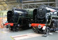 <I>The First and the Last</I>. Nine years and 997 other BR Standard steam locomotives separate 7MT 4-6-2 70000 <I>Britannia</I> and 9F 2-10-0 92220 <I>Evening Star</I>. The two locos were displayed together at the NRM York shortly after 70000 was renamed by HRH The Prince of Wales at Wakefield Kirkgate, marking the 60th anniversary of when it hauled his grandfather's funeral train from Sandringham.<br><br>[Mark Bartlett&nbsp;02/02/2012]
