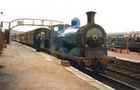 Caley 0-6-0 no 828 gets ready to take a train for Aviemore out of Boat of Garten on 6 October 1999.<br><br>[Colin Miller&nbsp;06/10/1999]