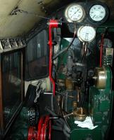 A nervous instructee drivers first view of the controls of BR Standard class 4MT no 75029 at Grosmont MPD on 6 October 2006. Don't bother looking for the Multi Media Interface or the BOSE sound system! [See image 37539]<br><br>[Brian Taylor&nbsp;06/10/2006]