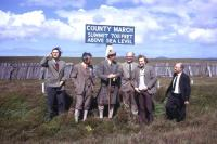 Taking a quick break from the 100th anniversary special train on the Far North line in 1974, this official party includes the BR Area Manager Thurso (far right), David Cobbett the BR Scotland General Manager (third right), Lord Thurso (centre, in kilt) and David Martin, SAPT rail campaigner from Inverness (second left).<br><br>[David Spaven&nbsp;//1974]