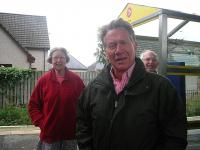 Photocall on the platform at Beauly station during a break in the recording of <I>Great British Railway Journeys</I> in September 2012. Left to right are railway author Anne Mary Paterson, programme presenter Michael Portillo and Mr Paterson. The series featuring the journey to the far north kicks off on BBC2 at 18.30 on Monday 21 January.<br><br>[John Yellowlees Collection&nbsp;/09/2012]