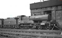 Midland Compound 4-4-0 no 41158 still looking good 'in store' on Chester Midland shed in the late 1950s. The locomotive was officially withdrawn by BR in August 1959 and scrapped at the Central Wagon Co, Wigan, a year later.<br><br>[K A Gray&nbsp;//]