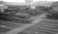 Looking over Ayr MPD from the footbridge in September 1960. Ex-Caledonian 0-6-0 no 57644 nearest the camera.<br><br>[K A Gray&nbsp;10/09/1960]