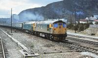 26040+47711 northbound out of Aviemore on 27 April 1980 with a service for Inverness.<br><br>[Peter Todd&nbsp;27/04/1980]