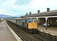 40023 with a northbound train at Kingussie on 28 May 1979.<br><br>[Peter Todd&nbsp;28/05/1979]