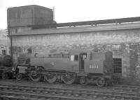 Resident Standard class 4 2-6-4T no 80113 stands alongside the shed at Hawick in October 1964. <br><br>[K A Gray&nbsp;26/10/1964]