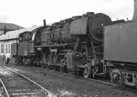 Withdrawn class 50 No 050 383 stands in the shed yard at Rottweil on 4 September 1974. The photograph shows how the removal of the chimney extension has given the locomotive a much more imposing appearance than usual [see image 36869]. <br><br>[Bill Jamieson&nbsp;04/09/1974]