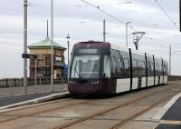Although the tramway in Blackpool has not yet reopened the new <I>Flexity</I> trams are out and about on driver training runs. 002 pauses at Cabin on one of these duties on 14 February 2012. When the line reopens and these new units are running side by side with the heritage trams on the Pleasure Beach to Bispham section it will be interesting to see which ones the holidaymakers go for. Will they hop on a new tram or hang back for an old one? [See image 31152]<br><br>[Mark Bartlett&nbsp;14/02/2012]