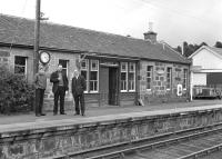 The photographer's son and the remaining BR staff survey the scene at Carron station on the Speyside Line in 1967, a year before final closure. [See image 1891]<br><br>[Frank Spaven Collection (Courtesy David Spaven)&nbsp;//1967]
