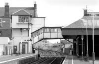 Platform view at Broughty Ferry in March 1993 looking east towards Gray Street level crossing and the unique signal box.<br><br>[Bill Roberton&nbsp;/03/1993]