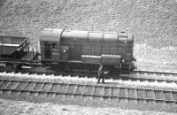 Reballasting work underway in Kilruskin cutting, West Kilbride, on Easter Sunday 1963. Horwich built class 08 no D3929 had arrived at Ardrossan shed ex-works two years earlier. [See image 36606]<br><br>[R Sillitto/A Renfrew Collection (Courtesy Bruce McCartney)&nbsp;14/04/1963]