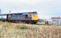 27008 departing from Forres with an eastbound train during the late morning of Friday 29 August 1980.<br><br>[Peter Todd&nbsp;29/08/1980]