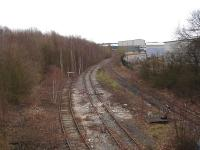 Mothballed track running towards the closed Harworth Colliery rapid loading bunker - sited just beyond the left hand curve. View from Blyth Road on 14 February 2012. <br><br>[David Pesterfield&nbsp;14/02/2012]