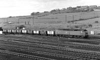 On a fine spring evening in 1977, 47301 sets off from the east end of Healey Mills Yard with a rake of empty 16T mineral wagons bound for one of the many collieries still extant in the former West Riding at that time.<br><br>[Bill Jamieson&nbsp;/05/1977]