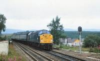40117 brings a southbound train into Carrbridge on 6 August 1980.<br><br>[Peter Todd 06/08/1980]