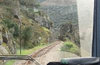 Drivers view from the twice daily metre gauge railcar as it threads the scenic Tua River gorge on its way down from Mirandela to Tua in the Douro Valley. Sadly, in August of that same year, a fatal accident occurred when a railbus derailed on this stretch and this caused the early closure of the line. Now a planned hydro-electric scheme will flood the trackbed. <br><br>[Mark Bartlett&nbsp;18/03/2008]