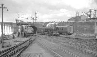 Scene at the north end of Buchanan Street station on 25 July 1966. A2 Pacific no 60532 <i>'Blue Peter'</i> is heading for St Rollox shed having brought in the 1.30pm from Aberdeen earlier.<br><br>[K A Gray&nbsp;25/07/1966]