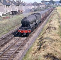 A3 60098 <I>'Spion Kop'</I> passing through Broomhall with a train in July 1959, shortly after turning north at Saughton Junction.<br><br>[A Snapper (Courtesy Bruce McCartney)&nbsp;25/07/1959]