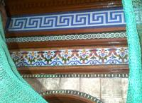 Some impressive tilework on the waiting room on platform 2 at Shrub Hill, photographed during restoration in December 2011. The protective plastic mesh has a certain 'Dance of the Seven Veils' look about it.<br><br>[Ken Strachan&nbsp;31/12/2011]