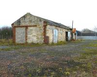 The surviving goods shed at Kilmaurs in February 2012. The station is to the left.<br><br>[Ken Browne&nbsp;08/02/2012]