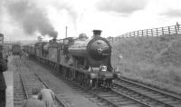 The RCTS <I>'Borders Railtour'</I> of 9 July 1961 photographed during a stop at Greenlaw behind NBR no 256 <i>Glen Douglas</i> and J37 no 64624.<br><br>[K A Gray&nbsp;09/07/1961]