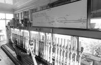 Interior of Niddrie West Signalbox in 1976 [With thanks to Keith Bathgate, Donald Hillier and David Greig].<br><br>[Bill Roberton&nbsp;//1976]