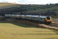 A southbound CrossCountry service on the ECML near Grantshouse on 19 February 2012.<br><br>[John Steven&nbsp;19/02/2012]