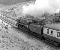 92220 <I>Evening Star</I> in the cutting just north of Dent station heading towards Rise Hill Tunnel while working the <I>Bishop Treacy</I> memorial special between Leeds and Appleby on 30 September 1978.<br> <br><br>[Bill Jamieson 30/09/1978]
