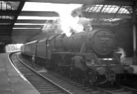 Black 5 no 45251 on a Glasgow - Stranraer boat train standing at Ayr station in May 1963. The locomotive was withdrawn from Ardrossan shed just over 6 months later. <br><br>[R Sillitto/A Renfrew Collection (Courtesy Bruce McCartney)&nbsp;25/05/1963]